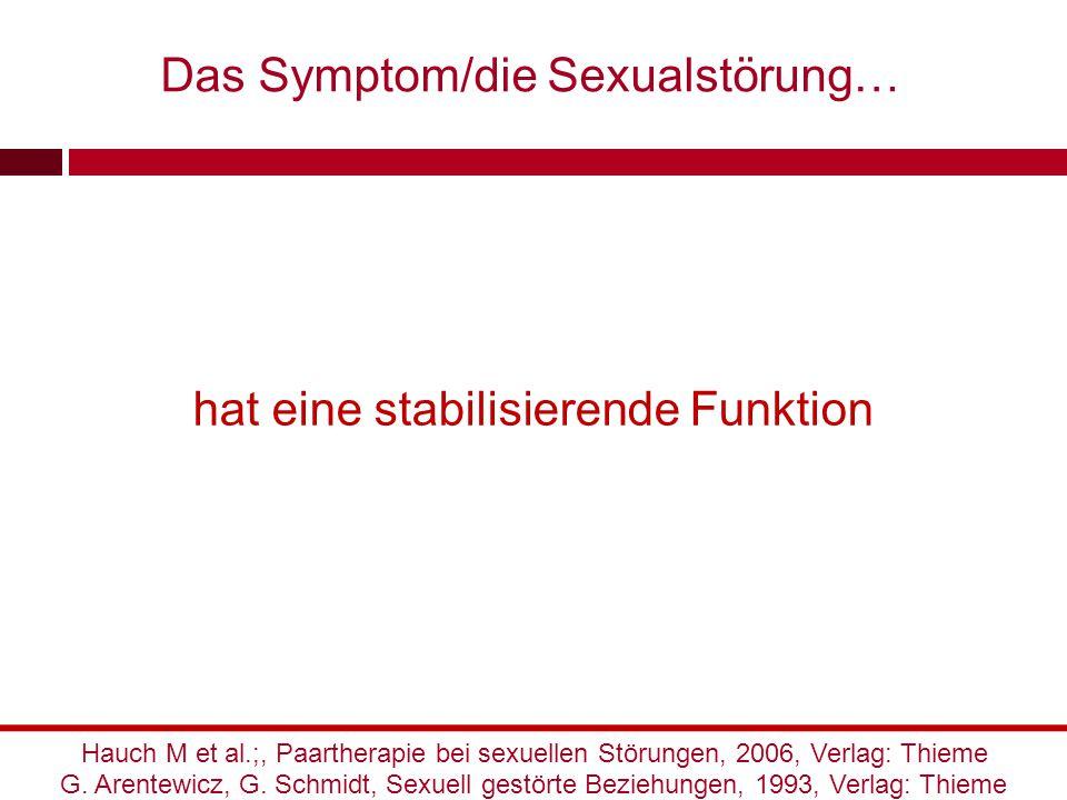 hat eine stabilisierende Funktion G. Arentewicz, G. Schmidt, Sexuell gestörte Beziehungen, 1993, Verlag: Thieme Hauch M et al.;, Paartherapie bei sexu