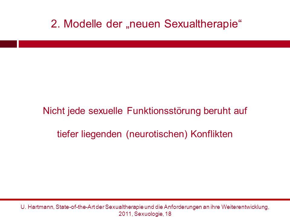"""2. Modelle der """"neuen Sexualtherapie"""" Nicht jede sexuelle Funktionsstörung beruht auf tiefer liegenden (neurotischen) Konflikten U. Hartmann, State-of"""