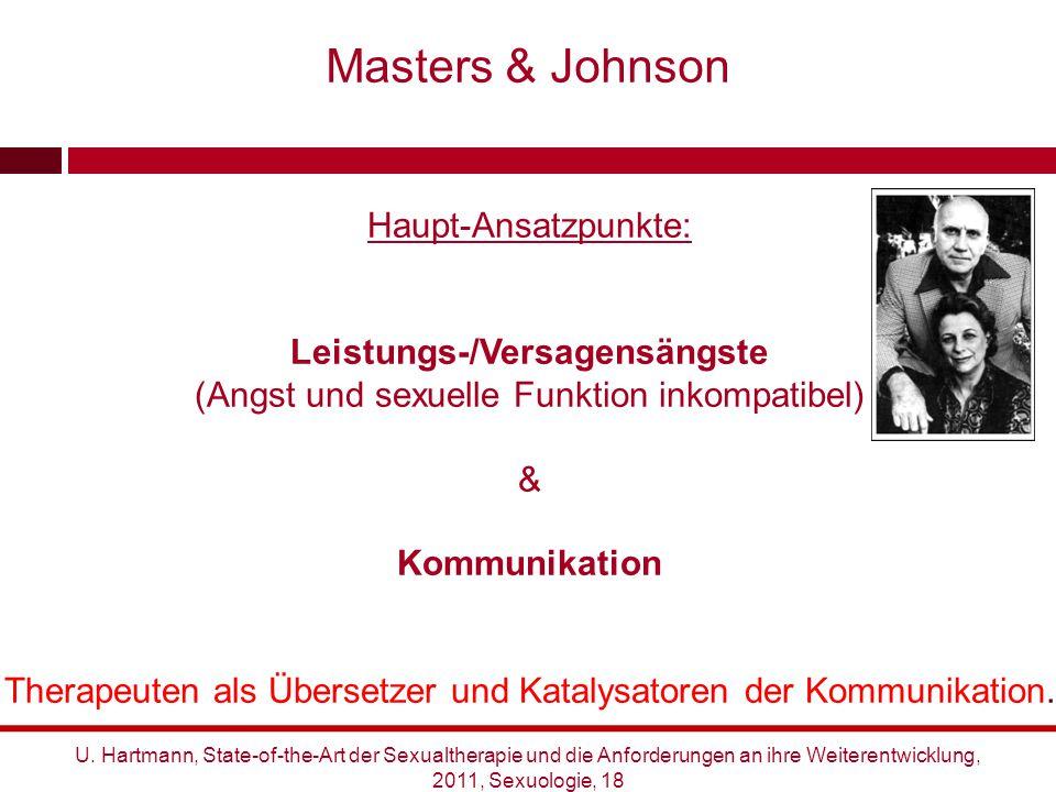 Haupt-Ansatzpunkte: Leistungs-/Versagensängste (Angst und sexuelle Funktion inkompatibel) & Kommunikation Therapeuten als Übersetzer und Katalysatoren