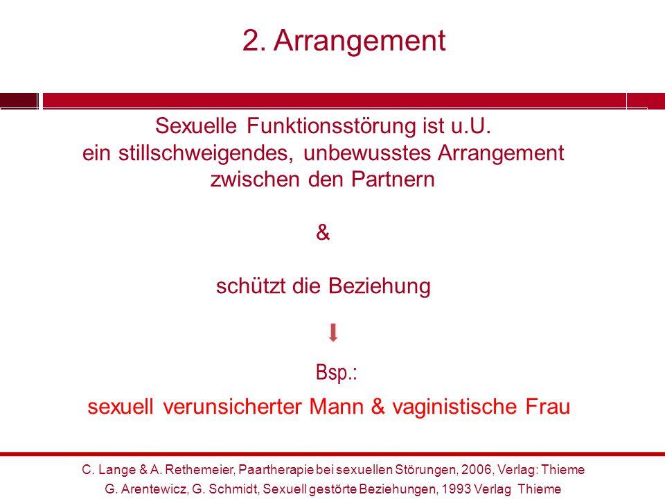 Bsp.: Sexuelle Funktionsstörung ist u.U. ein stillschweigendes, unbewusstes Arrangement zwischen den Partnern & schützt die Beziehung sexuell verunsic