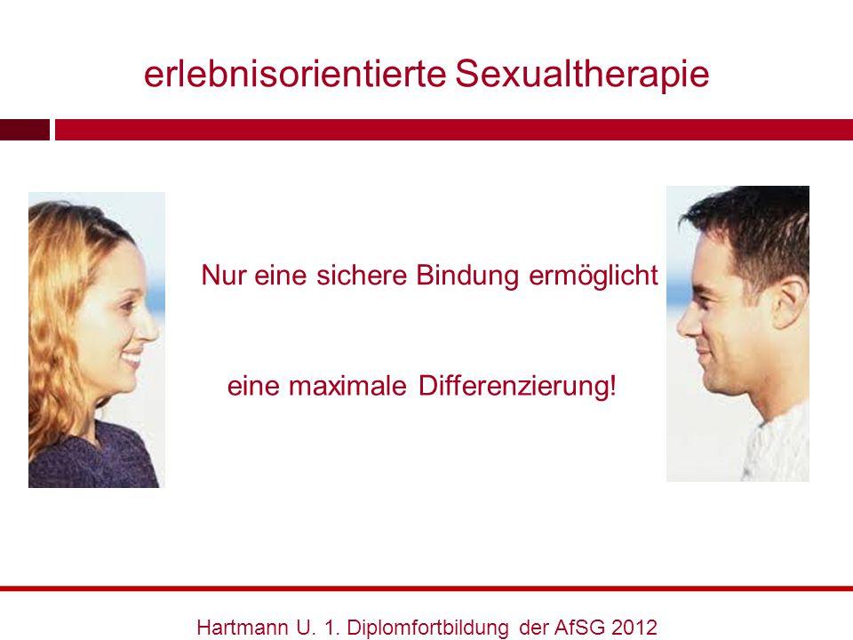 Nur eine sichere Bindung ermöglicht Hartmann U. 1. Diplomfortbildung der AfSG 2012 eine maximale Differenzierung! erlebnisorientierte Sexualtherapie