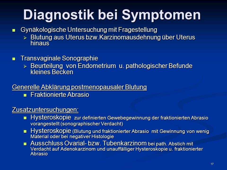 17 Diagnostik bei Symptomen Gynäkologische Untersuchung mit Fragestellung Gynäkologische Untersuchung mit Fragestellung  Blutung aus Uterus bzw.Karzi