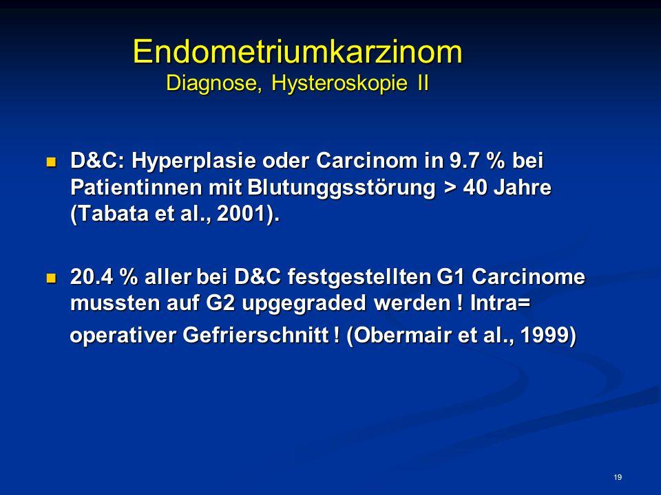 19 Endometriumkarzinom Diagnose, Hysteroskopie II D&C: Hyperplasie oder Carcinom in 9.7 % bei Patientinnen mit Blutunggsstörung > 40 Jahre (Tabata et