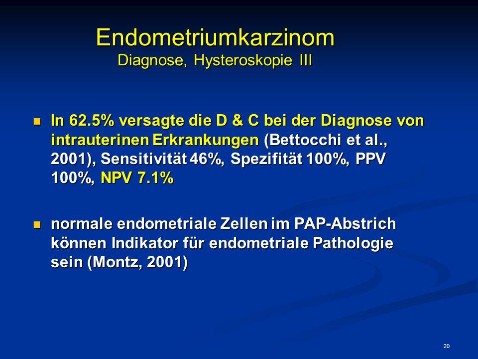 20 Endometriumkarzinom Diagnose, Hysteroskopie III In 62.5% versagte die D & C bei der Diagnose von intrauterinen Erkrankungen (Bettocchi et al., 2001