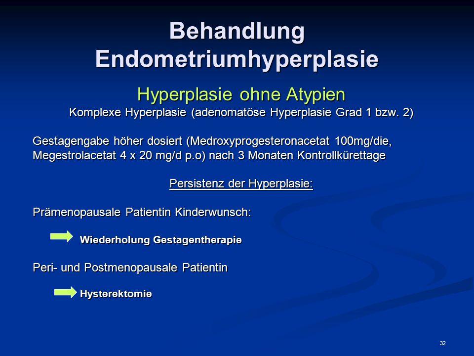 32 Behandlung Endometriumhyperplasie Hyperplasie ohne Atypien Komplexe Hyperplasie (adenomatöse Hyperplasie Grad 1 bzw. 2) Gestagengabe höher dosiert