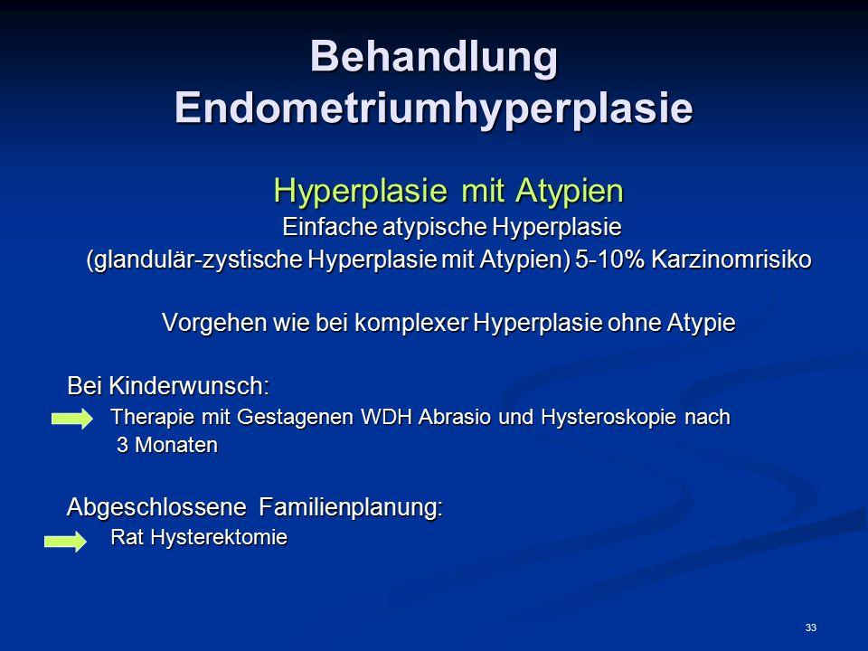 33 Behandlung Endometriumhyperplasie Hyperplasie mit Atypien Einfache atypische Hyperplasie Einfache atypische Hyperplasie (glandulär-zystische Hyperp