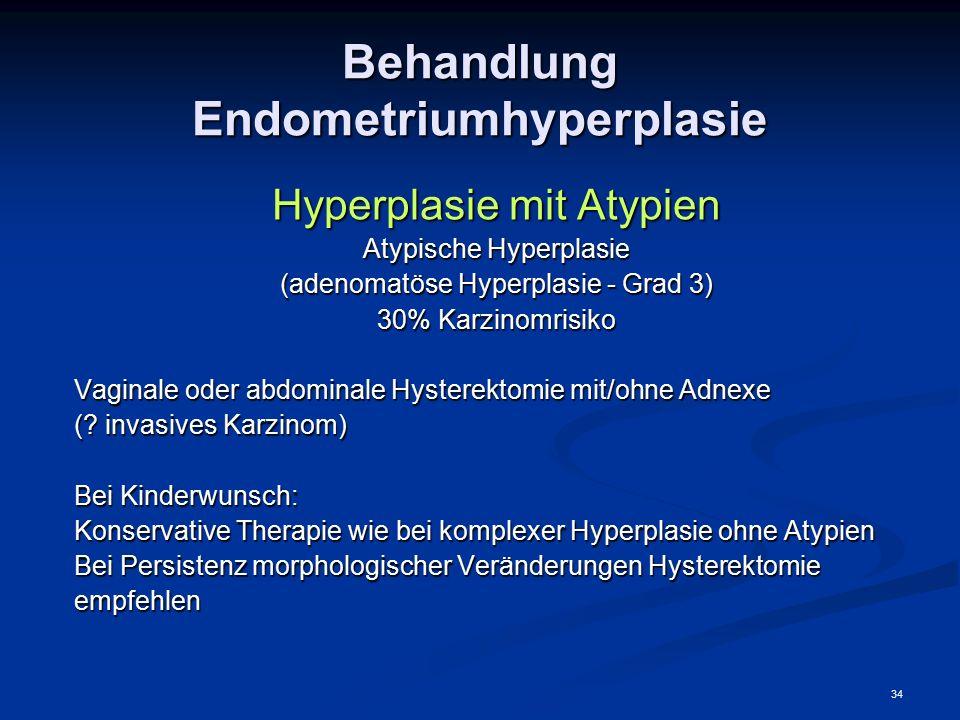 34 Behandlung Endometriumhyperplasie Hyperplasie mit Atypien Atypische Hyperplasie (adenomatöse Hyperplasie - Grad 3) 30% Karzinomrisiko Vaginale oder