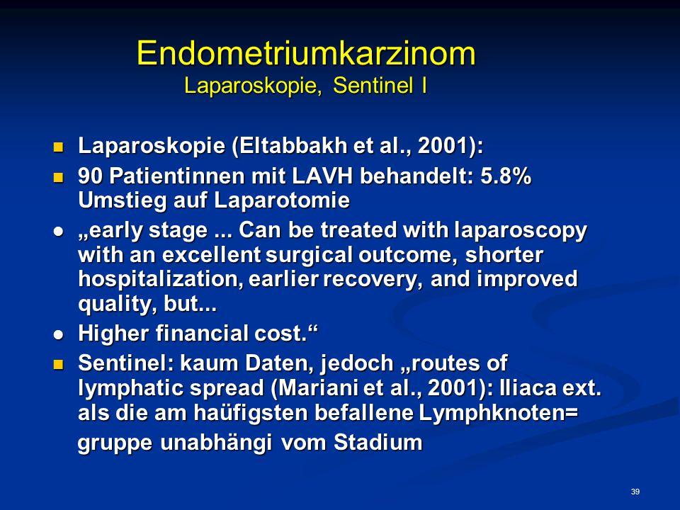 39 Endometriumkarzinom Laparoskopie, Sentinel I Laparoskopie (Eltabbakh et al., 2001): Laparoskopie (Eltabbakh et al., 2001): 90 Patientinnen mit LAVH