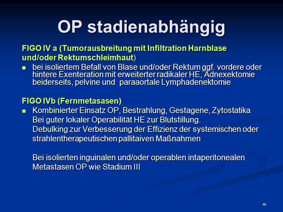 46 OP stadienabhängig FIGO IV a (Tumorausbreitung mit Infiltration Harnblase und/oder Rektumschleimhaut) bei isoliertem Befall von Blase und/oder Rekt