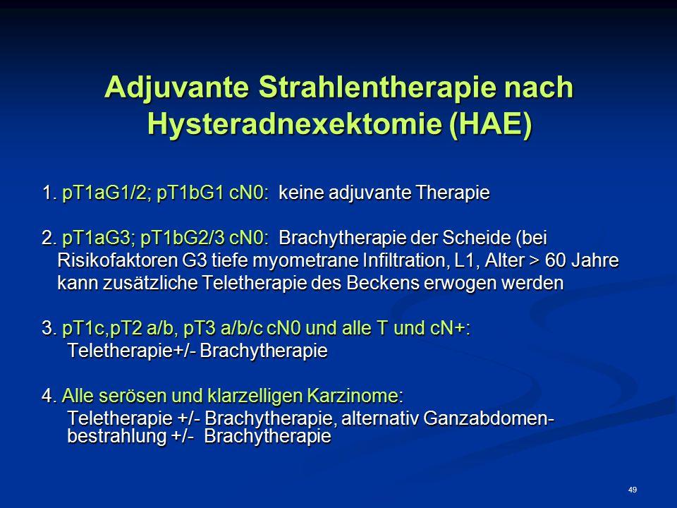 49 Adjuvante Strahlentherapie nach Hysteradnexektomie (HAE) 1. pT1aG1/2; pT1bG1 cN0: keine adjuvante Therapie 2. pT1aG3; pT1bG2/3 cN0: Brachytherapie