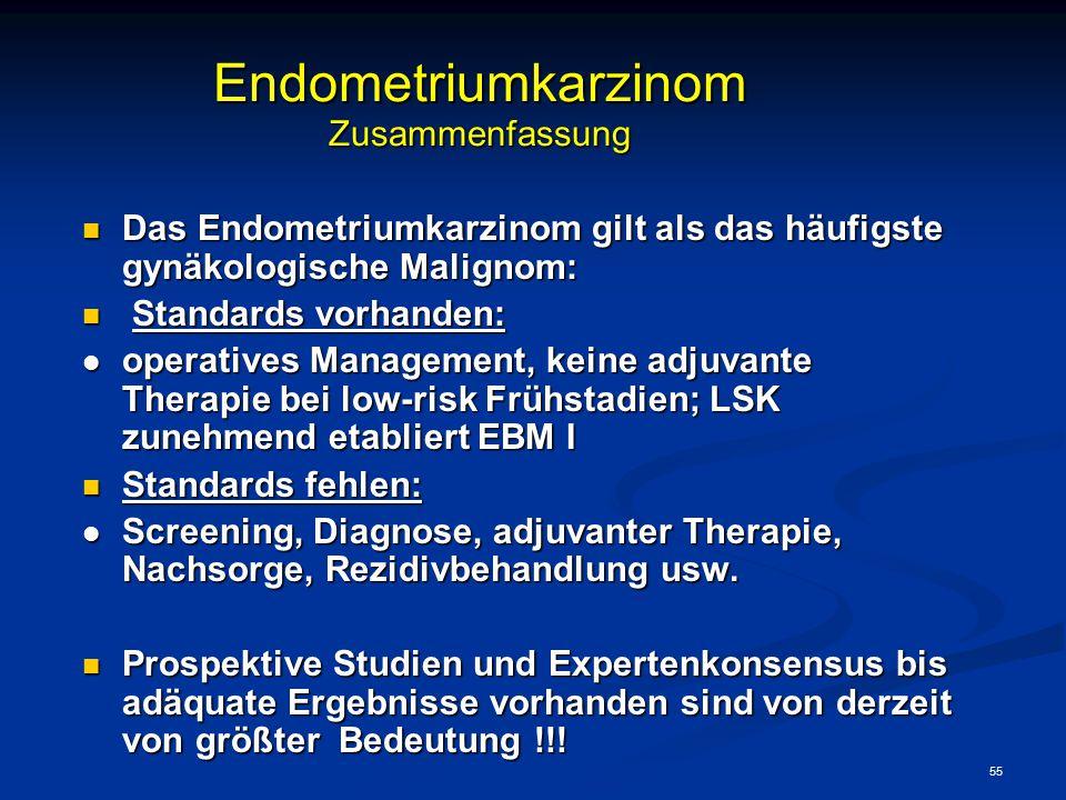 55 Endometriumkarzinom Zusammenfassung Das Endometriumkarzinom gilt als das häufigste gynäkologische Malignom: Das Endometriumkarzinom gilt als das hä