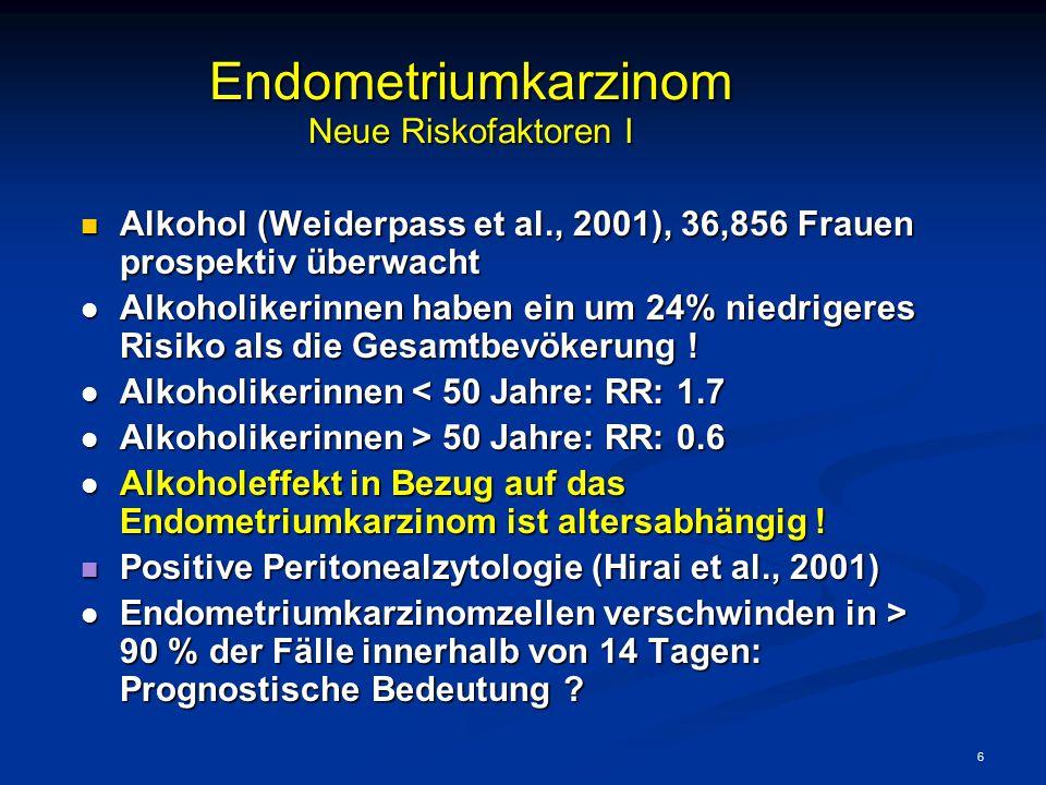 6 Endometriumkarzinom Neue Riskofaktoren I Alkohol (Weiderpass et al., 2001), 36,856 Frauen prospektiv überwacht Alkohol (Weiderpass et al., 2001), 36