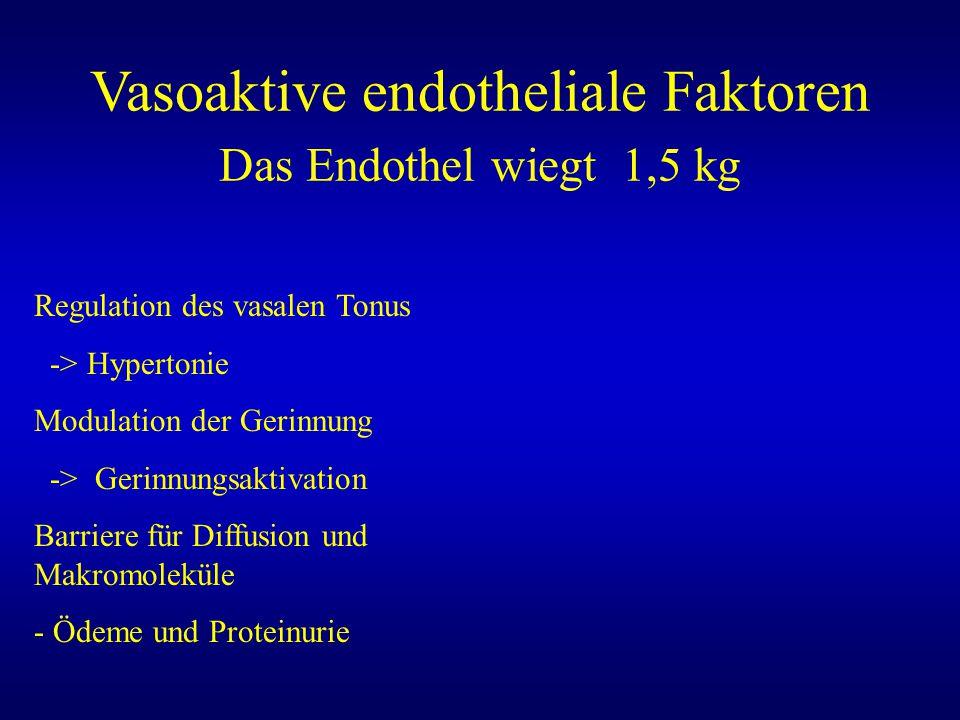 Vasoaktive endotheliale Faktoren Das Endothel wiegt 1,5 kg Regulation des vasalen Tonus -> Hypertonie Modulation der Gerinnung -> Gerinnungsaktivation