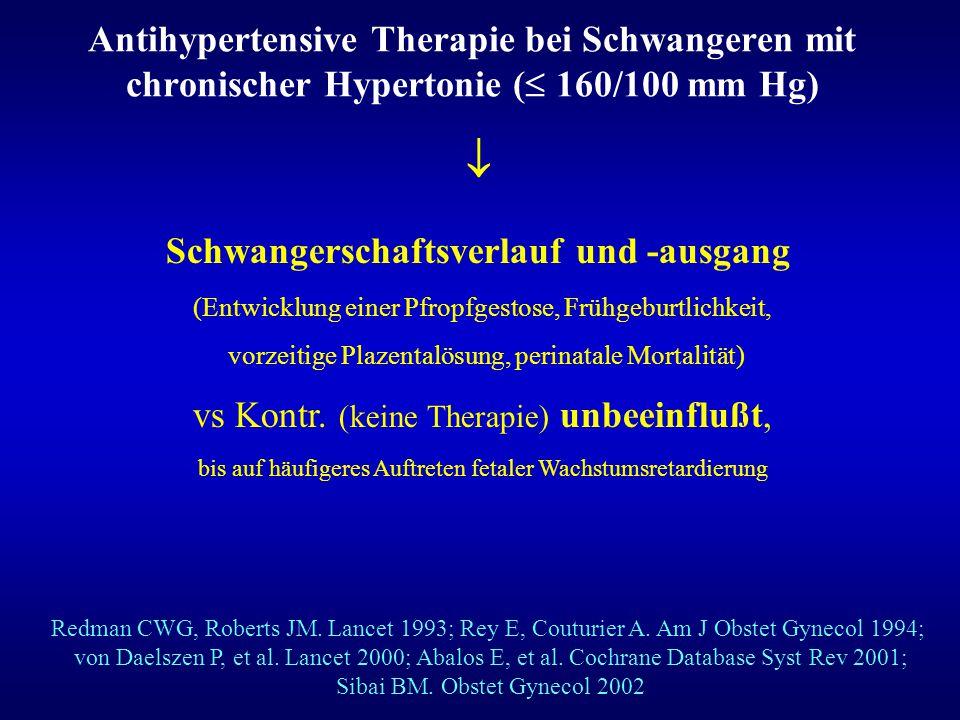 Antihypertensive Therapie bei Schwangeren mit chronischer Hypertonie (  160/100 mm Hg) Schwangerschaftsverlauf und -ausgang (Entwicklung einer Pfropf