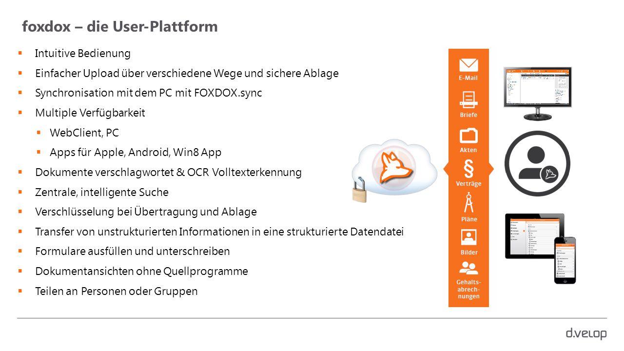 foxdox – die User-Plattform  Intuitive Bedienung  Einfacher Upload über verschiedene Wege und sichere Ablage  Synchronisation mit dem PC mit FOXDOX