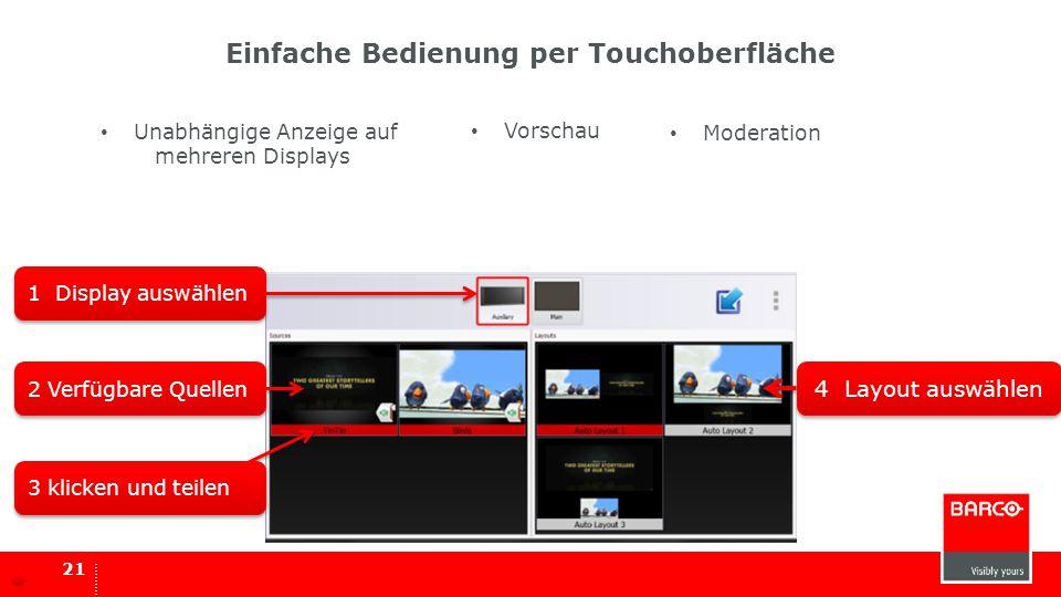 21 Einfache Bedienung per Touchoberfläche 1 Display auswählen 2 Verfügbare Quellen 3 klicken und teilen 4 Layout auswählen Unabhängige Anzeige auf meh