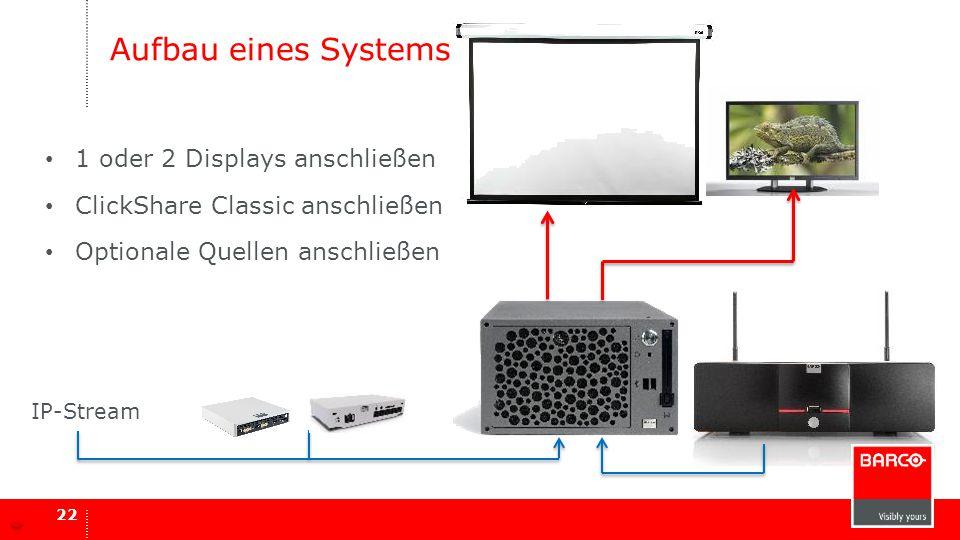 Aufbau eines Systems 22 1 oder 2 Displays anschließen ClickShare Classic anschließen Optionale Quellen anschließen IP-Stream