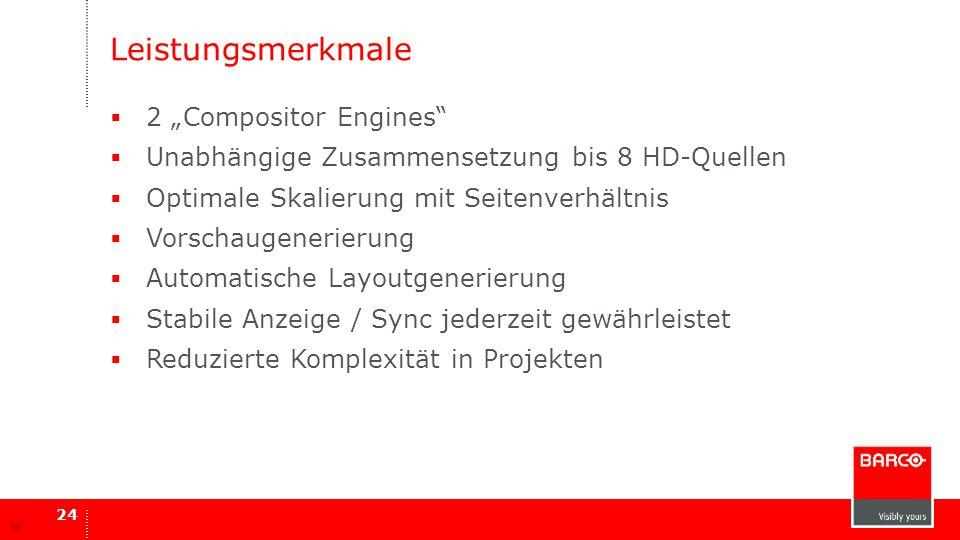 """Leistungsmerkmale  2 """"Compositor Engines""""  Unabhängige Zusammensetzung bis 8 HD-Quellen  Optimale Skalierung mit Seitenverhältnis  Vorschaugenerie"""