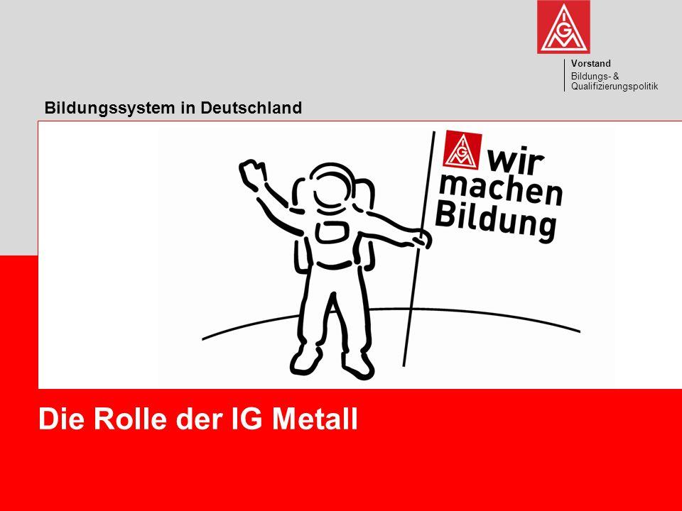 Vorstand Bildungs- & Qualifizierungspolitik 1 Die Rolle der IG Metall Vorstand Bildungs- & Qualifizierungspolitik Bildungssystem in Deutschland