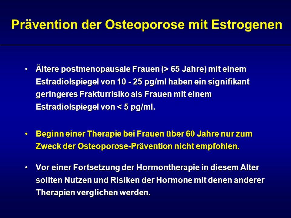 Prävention der Osteoporose mit Estrogenen Ältere postmenopausale Frauen (> 65 Jahre) mit einem Estradiolspiegel von 10 - 25 pg/ml haben ein signifikan