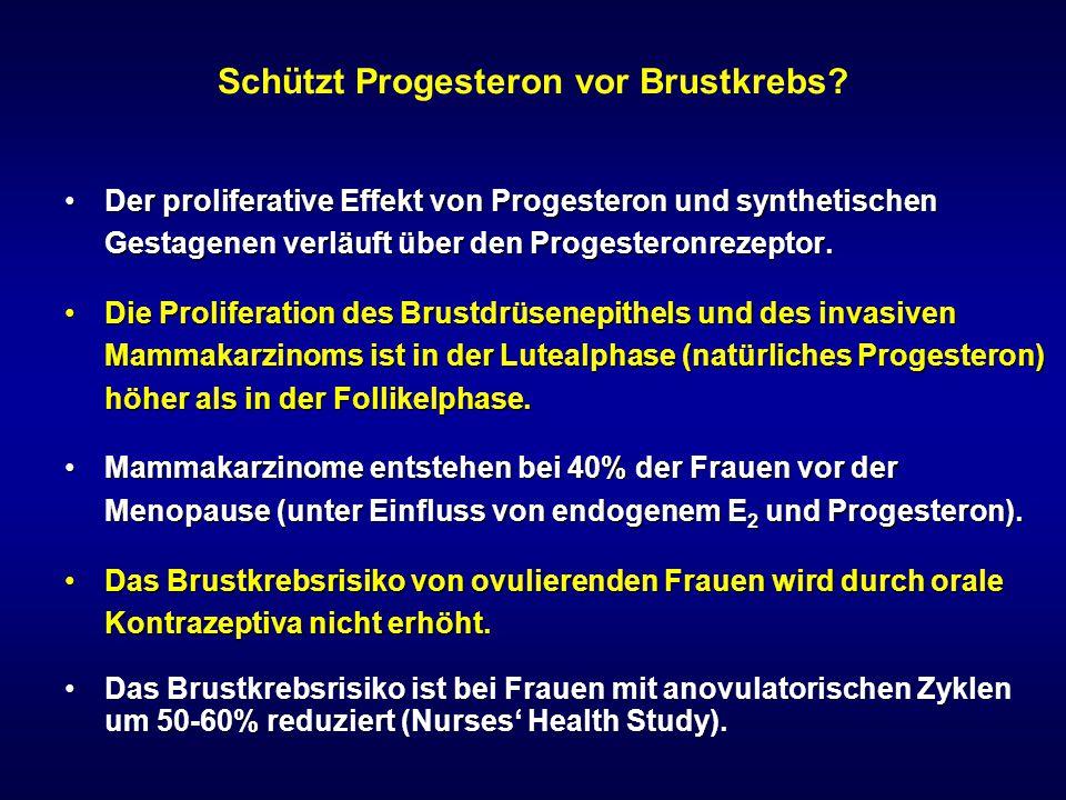 Schützt Progesteron vor Brustkrebs? Der proliferative Effekt von Progesteron und synthetischen Gestagenen verläuft über den Progesteronrezeptor.Der pr