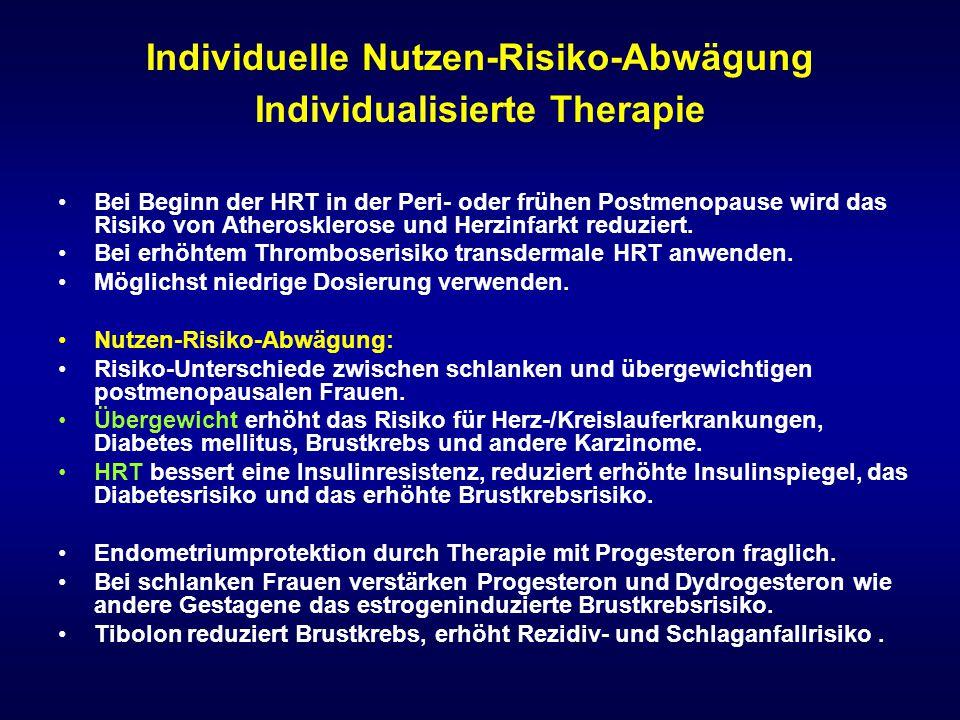 Individuelle Nutzen-Risiko-Abwägung Individualisierte Therapie Bei Beginn der HRT in der Peri- oder frühen Postmenopause wird das Risiko von Atheroskl