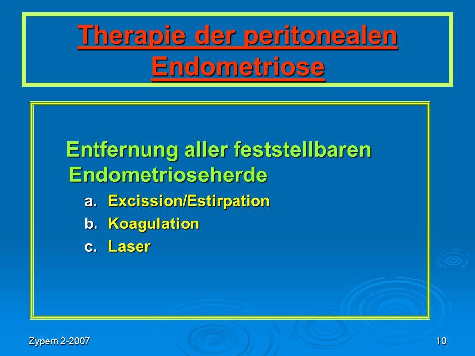 Zypern 2-200710 Therapie der peritonealen Endometriose Entfernung aller feststellbaren Endometrioseherde Entfernung aller feststellbaren Endometrioseh