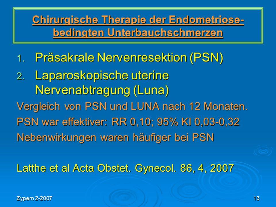 Zypern 2-200713 Chirurgische Therapie der Endometriose- bedingten Unterbauchschmerzen 1. Präsakrale Nervenresektion (PSN) 2. Laparoskopische uterine N