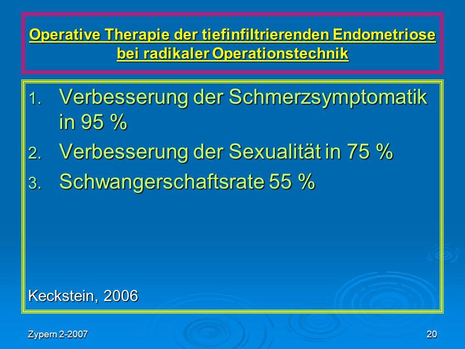 Zypern 2-200720 Operative Therapie der tiefinfiltrierenden Endometriose bei radikaler Operationstechnik 1. Verbesserung der Schmerzsymptomatik in 95 %