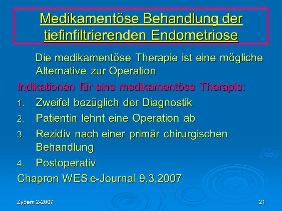 Zypern 2-200721 Medikamentöse Behandlung der tiefinfiltrierenden Endometriose Die medikamentöse Therapie ist eine mögliche Alternative zur Operation D