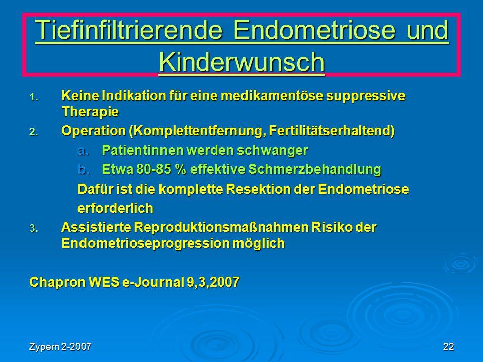 Zypern 2-200722 Tiefinfiltrierende Endometriose und Kinderwunsch 1. Keine Indikation für eine medikamentöse suppressive Therapie 2. Operation (Komplet