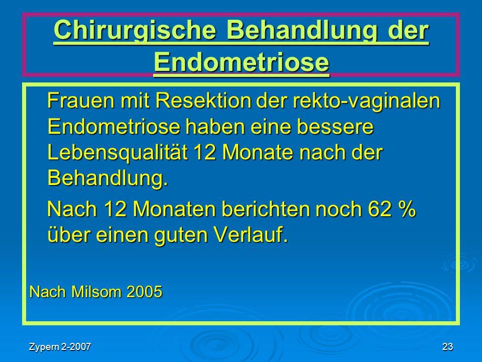 Zypern 2-200723 Chirurgische Behandlung der Endometriose Frauen mit Resektion der rekto-vaginalen Endometriose haben eine bessere Lebensqualität 12 Mo