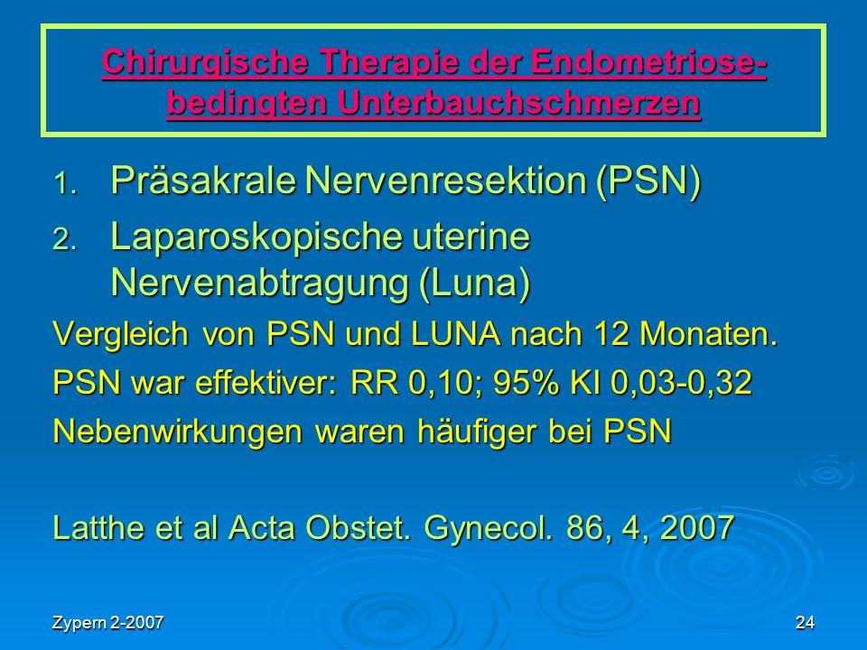 Zypern 2-200724 Chirurgische Therapie der Endometriose- bedingten Unterbauchschmerzen 1. Präsakrale Nervenresektion (PSN) 2. Laparoskopische uterine N