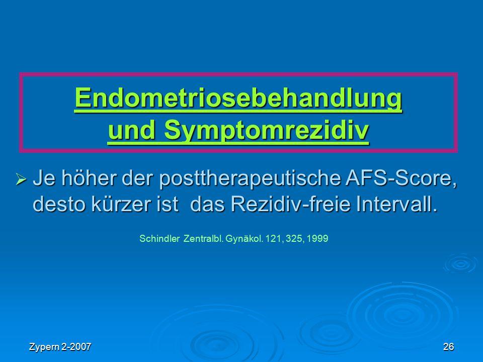 Zypern 2-200726 Endometriosebehandlung und Symptomrezidiv  Je höher der posttherapeutische AFS-Score, desto kürzer ist das Rezidiv-freie Intervall. S