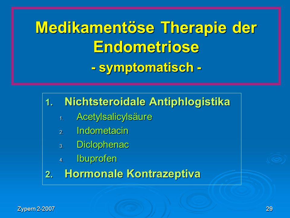 Zypern 2-200729 Medikamentöse Therapie der Endometriose - symptomatisch - 1. Nichtsteroidale Antiphlogistika 1. Acetylsalicylsäure 2. Indometacin 3. D