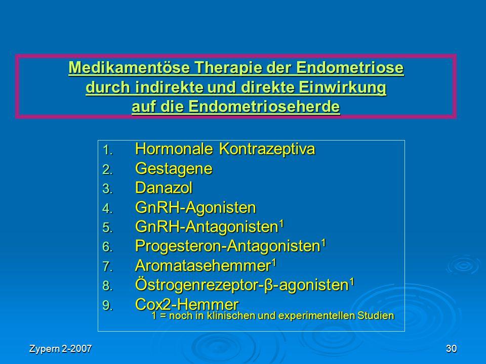 Zypern 2-200730 Medikamentöse Therapie der Endometriose durch indirekte und direkte Einwirkung auf die Endometrioseherde 1. Hormonale Kontrazeptiva 2.