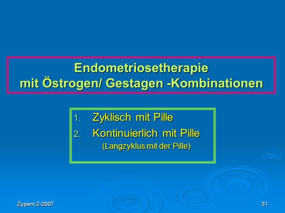 Zypern 2-200731 Endometriosetherapie mit Östrogen/ Gestagen -Kombinationen 1. Zyklisch mit Pille 2. Kontinuierlich mit Pille (Langzyklus mit der Pille