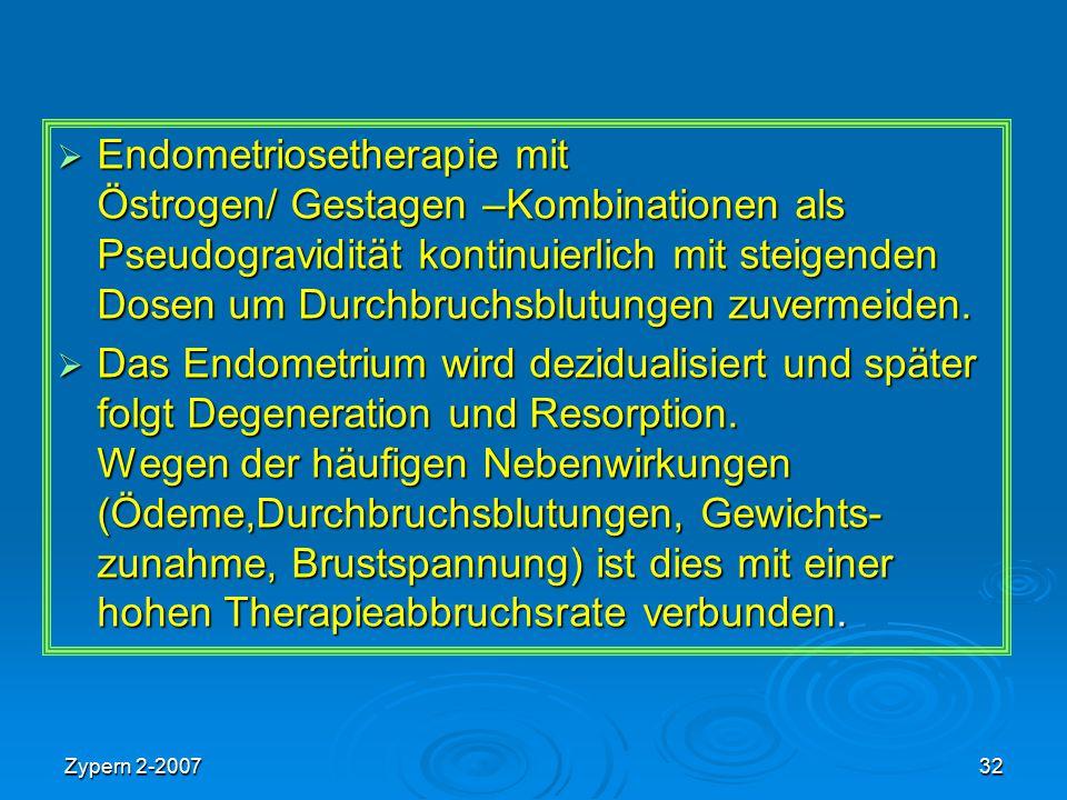 Zypern 2-200732  Endometriosetherapie mit Östrogen/ Gestagen –Kombinationen als Pseudogravidität kontinuierlich mit steigenden Dosen um Durchbruchsbl