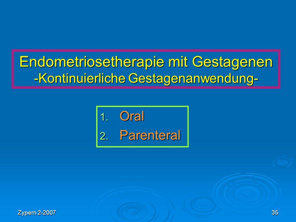 Zypern 2-200735 Endometriosetherapie mit Gestagenen -Kontinuierliche Gestagenanwendung- 1. Oral 2. Parenteral