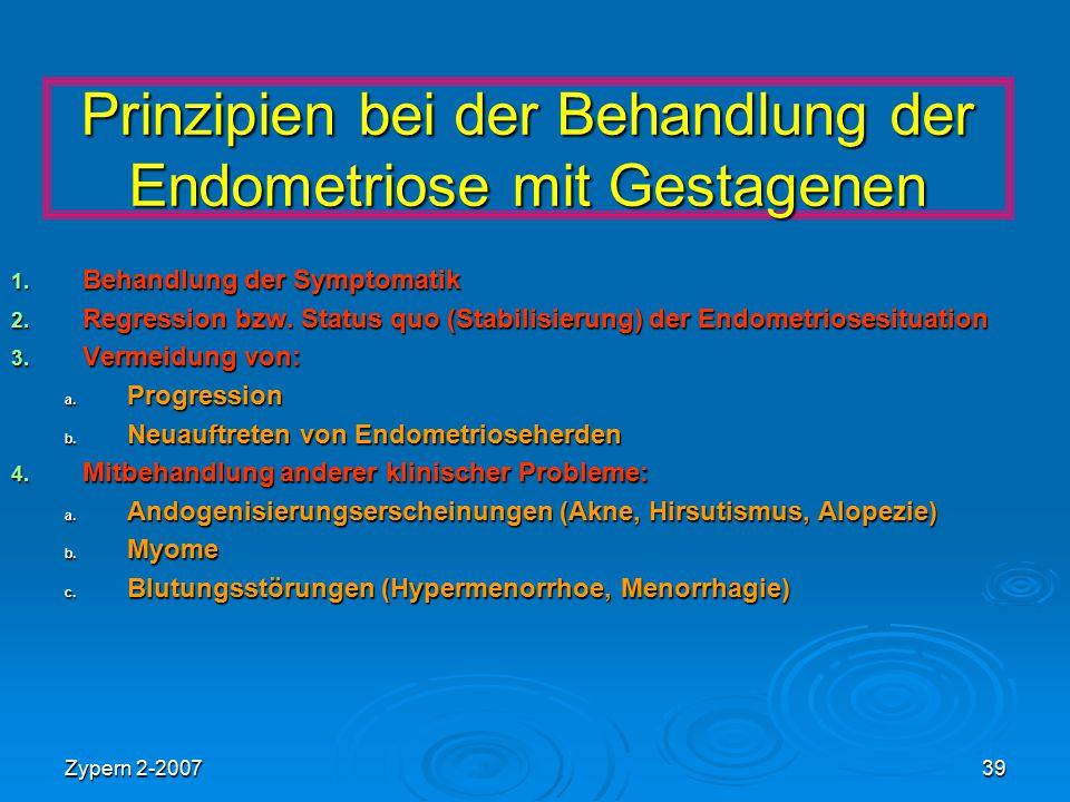 Zypern 2-200739 Prinzipien bei der Behandlung der Endometriose mit Gestagenen 1. Behandlung der Symptomatik 2. Regression bzw. Status quo (Stabilisier