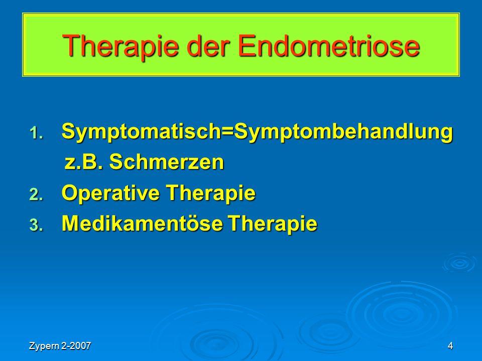 Zypern 2-20074 Therapie der Endometriose 1. Symptomatisch=Symptombehandlung z.B. Schmerzen z.B. Schmerzen 2. Operative Therapie 3. Medikamentöse Thera