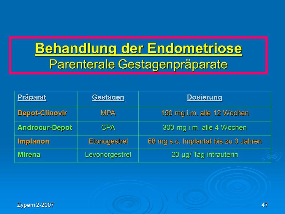 Zypern 2-200747 Behandlung der Endometriose Parenterale Gestagenpräparate PräparatGestagenDosierung Depot-ClinovirMPA 150 mg i.m. alle 12 Wochen Andro