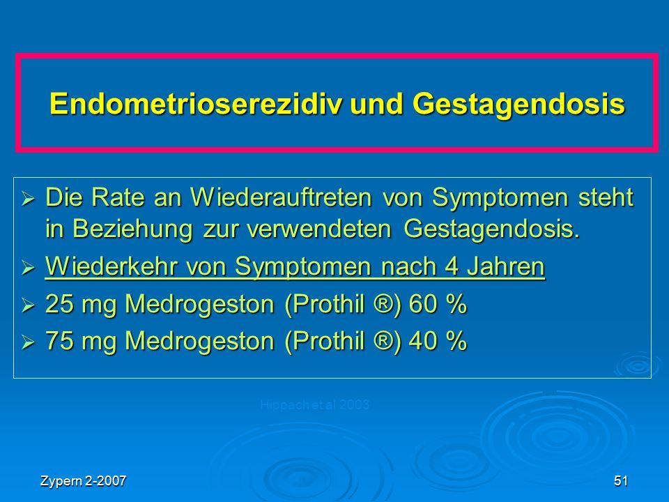 Zypern 2-200751 Endometrioserezidiv und Gestagendosis  Die Rate an Wiederauftreten von Symptomen steht in Beziehung zur verwendeten Gestagendosis. 
