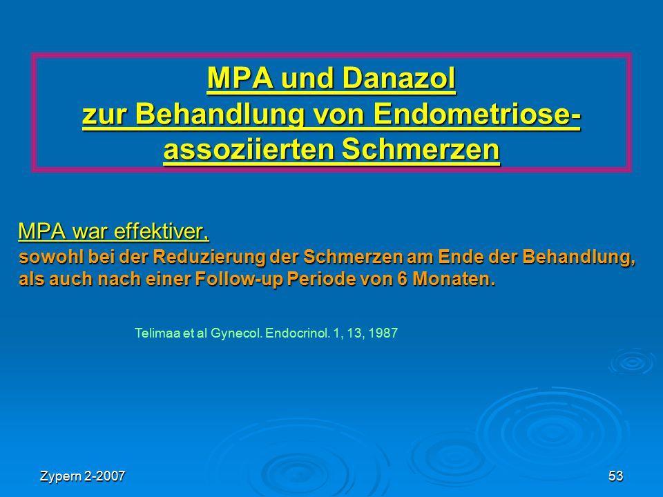 Zypern 2-200753 MPA und Danazol zur Behandlung von Endometriose- assoziierten Schmerzen MPA war effektiver, sowohl bei der Reduzierung der Schmerzen a