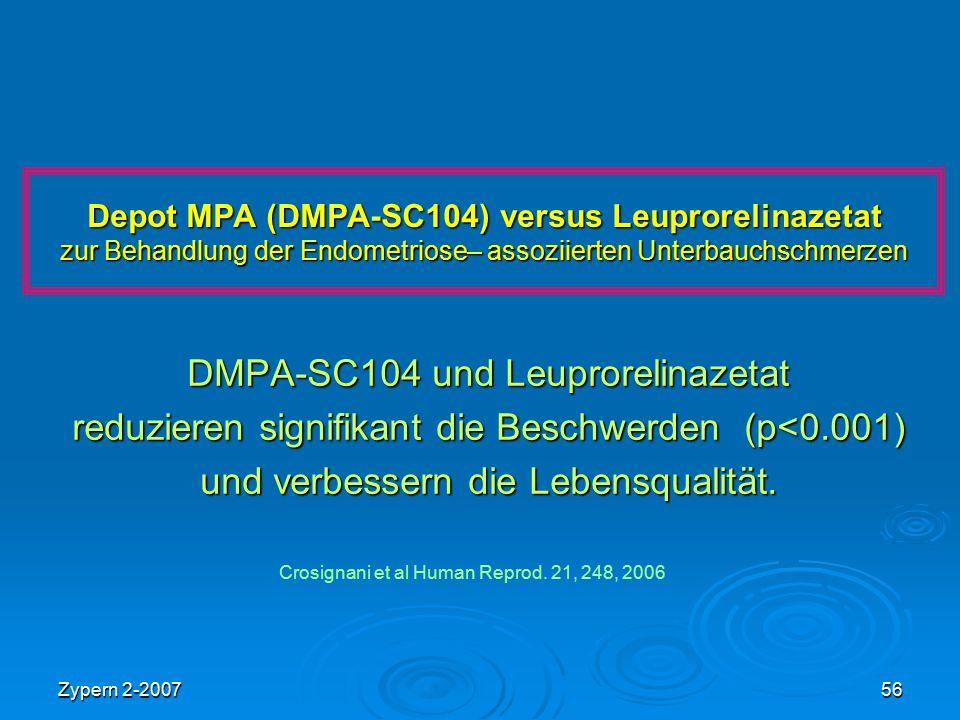 Zypern 2-200756 Depot MPA (DMPA-SC104) versus Leuprorelinazetat zur Behandlung der Endometriose– assoziierten Unterbauchschmerzen DMPA-SC104 und Leupr