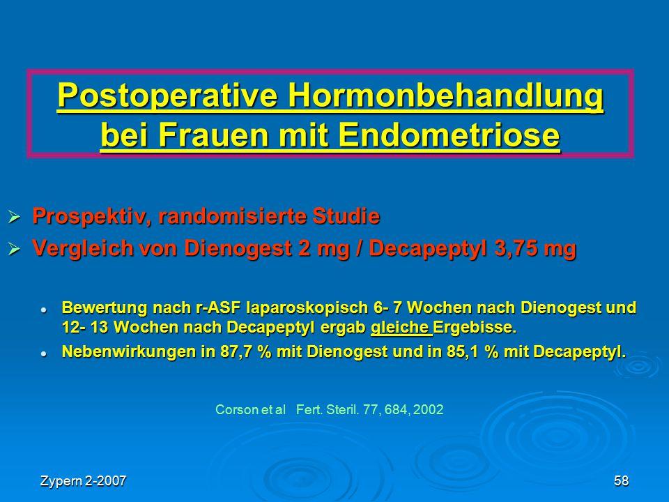 Zypern 2-200758 Postoperative Hormonbehandlung bei Frauen mit Endometriose  Prospektiv, randomisierte Studie  Vergleich von Dienogest 2 mg / Decapep