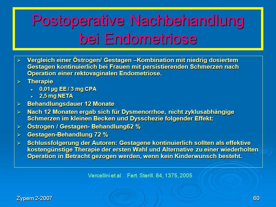 Zypern 2-200760 Postoperative Nachbehandlung bei Endometriose  Vergleich einer Östrogen/ Gestagen –Kombination mit niedrig dosiertem Gestagen kontinu