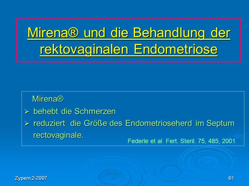 Zypern 2-200761 Mirena® und die Behandlung der rektovaginalen Endometriose Mirena® Mirena®  behebt die Schmerzen  reduziert die Größe des Endometrio