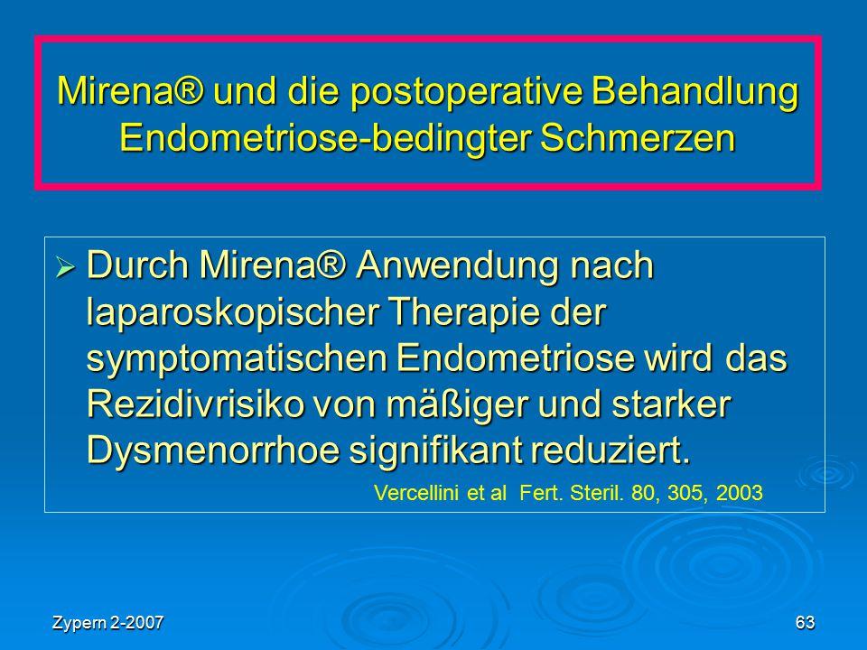 Zypern 2-200763 Mirena® und die postoperative Behandlung Endometriose-bedingter Schmerzen  Durch Mirena® Anwendung nach laparoskopischer Therapie der
