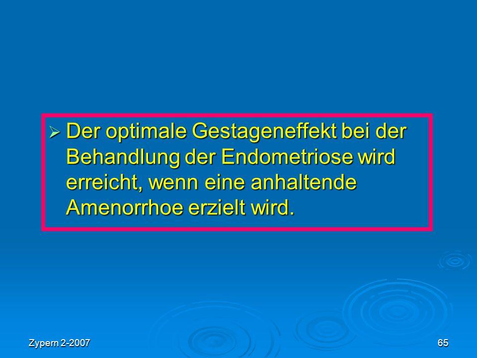 Zypern 2-200765  Der optimale Gestageneffekt bei der Behandlung der Endometriose wird erreicht, wenn eine anhaltende Amenorrhoe erzielt wird.